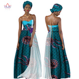 Summer Dress Women Dress African Print Clothing Sleeveless Maxi Long Dresses Party Clothes free Headscarf African Clothes WY1277
