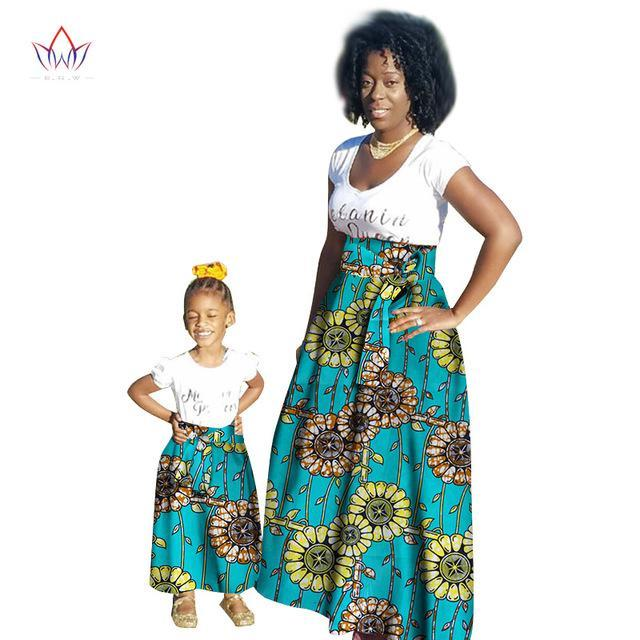 2017 Summer New Sale traditional Fashion Matching Dashiki Clothes Mother and Girl Baby's Skirt 2 pieces african Clothing WYQ44