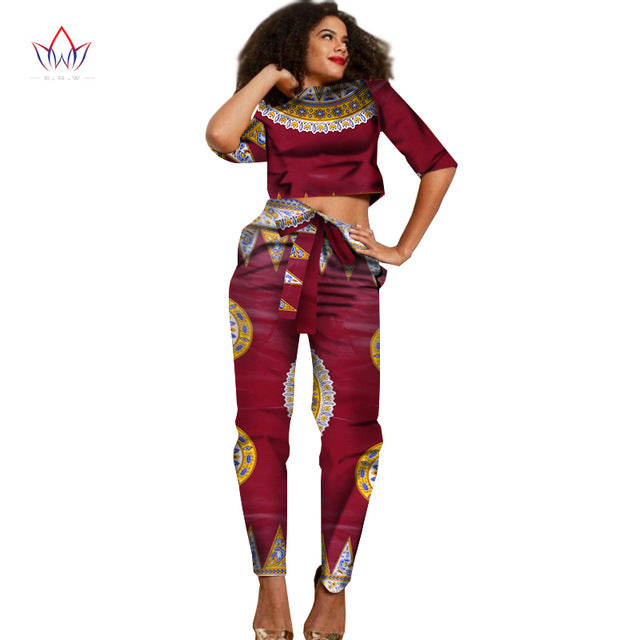 New African Clothes Half Sleeve Crop Tops 2 Piece Set Women Clothing Long Pants African Print Pants Women 6XL BRW WY1374