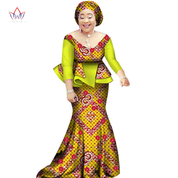 a92bf6fd284 African women two piece o-neck print Skirt set african clothing plus s –  Owame