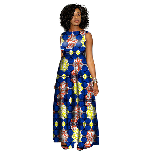 Women Summer Africa Clothes Fashion Print Dress Woman Party O-Neck Collar Dress African Ladies Costume Customize-ZWM-78