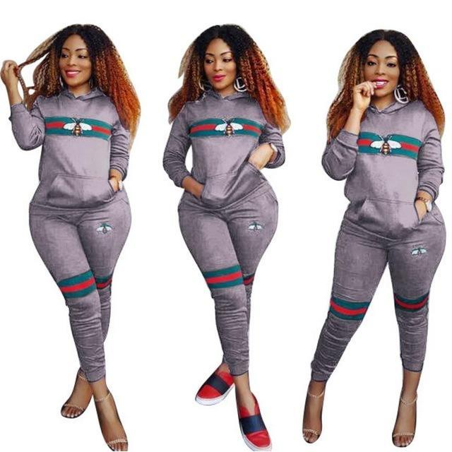 2017 Hooded Tracksuit Two Piece Set Womens Winter Casual Striped Bee Print Hoodies Top and Pants Set Ladies 2-piece Suit Outfits