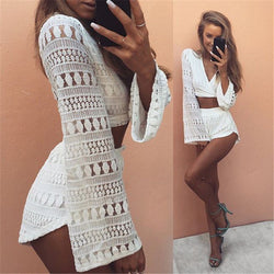 2pcs Hollow Out White Lace Elegant Jumpsuit Rompers Sexy Deep V-neck Playsuit Long Sleeve Summer Women Beach Overalls-D1141