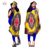 BRW Women Summer Dress Sleeveless African Women Robes Dashiki Traditional Print Bazin Riche Africa Style Plus Size 6XL WY1657
