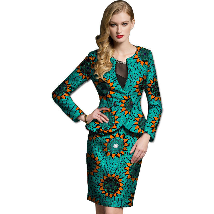 African women skirts+blazers set,Women dashiki suit jacket with skirt customized for party/wedding#OWAME11