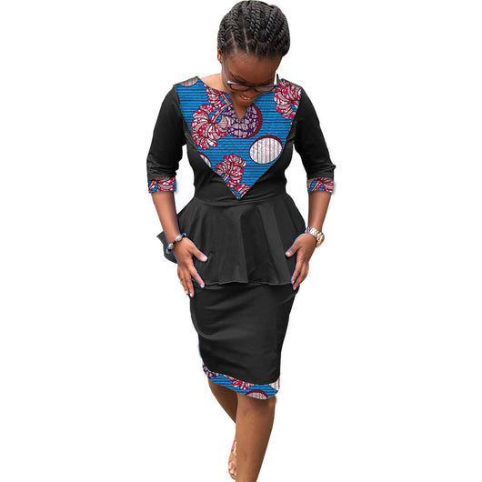 Elegant african fashion bright print women long sleeve pattern ladies dashiki tops and skirts set clothes for party/wedding#OWAME11