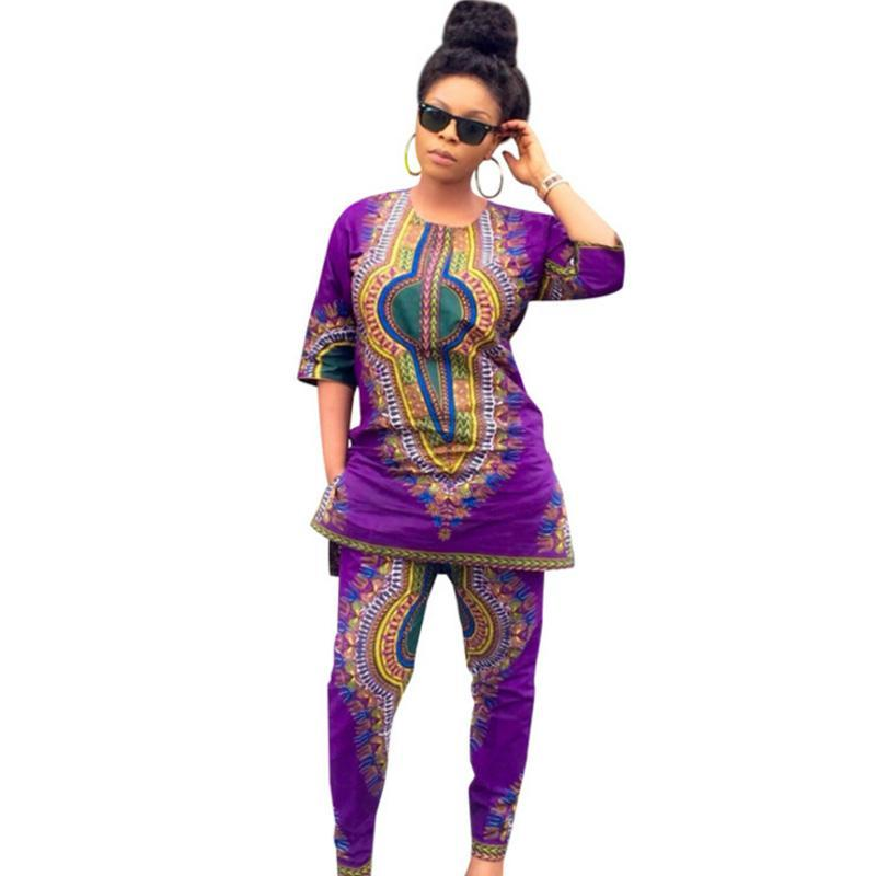 2017 runway autumn femme satin african print two piece sets women romper long pants dashiki jumpsuits National style ethnic suit