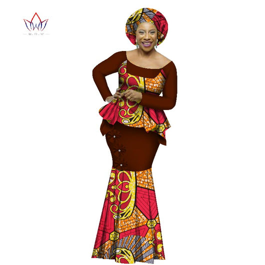 African Dashiki for Woman Top and Skirt set o-neck full sleeve Plus Size evening Dress 4xl #owame11