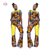 Nigerian Style Fashion African Print Women Dashiki Set Short Top and Pant Personal Customize Designs of Africa Clothing WY1847