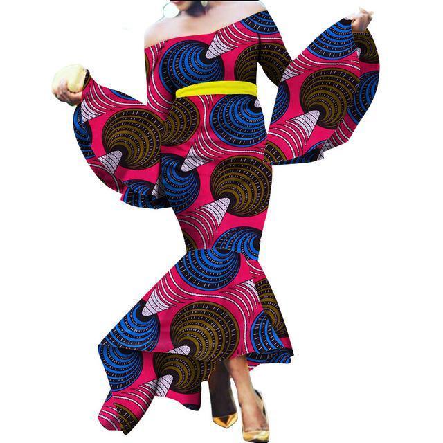 Beautiful African Mermaid Layers Dresses for Women African Autumn Maxi Dashiki Off the Shoulder Women Dress