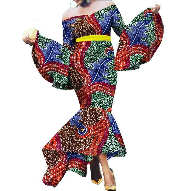 African Mermaid Layers Dresses for Women African Autumn Maxi Dashiki Off the Shoulder Women Dress