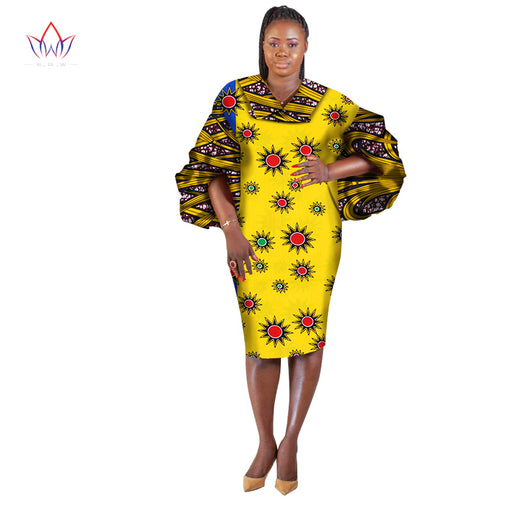 African Dresses Women Puff sleeve Plus Size  Dashiki African Print Dress for Women-0wame12