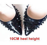 Women Rivets Studded Pointed Toe shoe,Women Pumps Sexy Black High Heels Thin Stiletto Scarpin Spikes Shoes 0w77