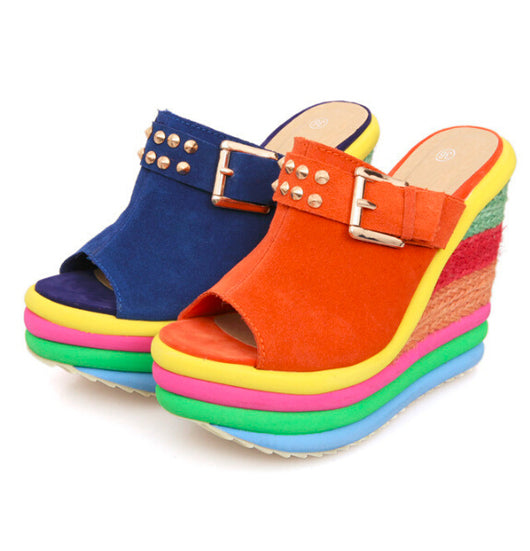 women sandals leather wedges shoes, woman rainbow high heel gladiator sandals women platform flip flops 0w77