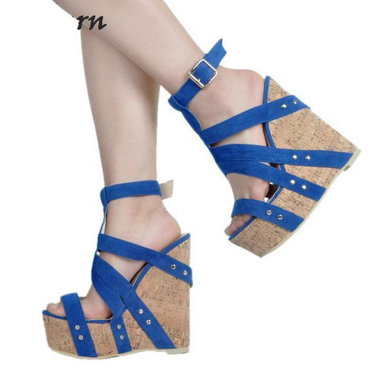 Women Wedges Shoes For Women High Heel Platform Sandals Women 2017 Summer Open Toe Blue Size 34-47-0wSm12