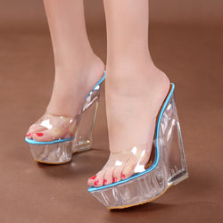 Fashion Women High Heel Wedge Slippers Transparent Shoes Woman Platform Wedges Comfortable Crystal Sandals -0wSm12
