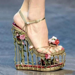 Unique New Design Metal Cut-out Caged Heel Rose Flowers Decoration Line Buckle Wedge Shoe-0wSm12