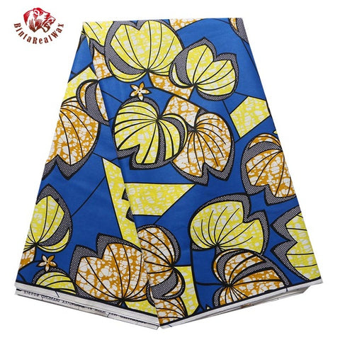 African Wax Print Fabric Super Wax Hollandais Yellow Leave Heart Apple Pattern Fabric Ankara African Batik Fabric -OWMF P6020