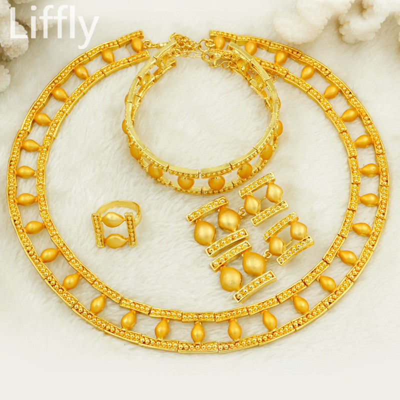 Liffly New Creative Women Jewelry Turkey Bride Wedding Necklace Earings Fashion Jewelry Christmas Gift Gold Jewelry Sets