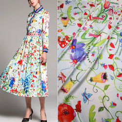 Italy style colorful small flowers printed silk satin fabric tissus,polyester silk clothing for women dress imitate silk fabric