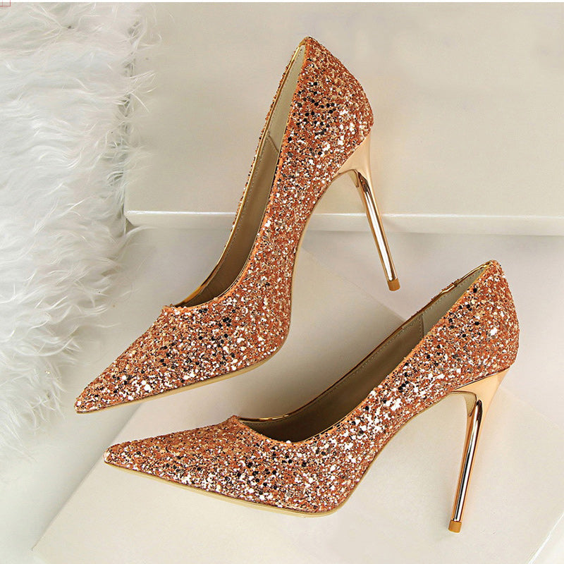 7d741b944e8 Women Pumps Sexy Wedding Shoes Women Heels Valentine Bling High Heels Shoes  Female Gold Silver Red Stiletto Bridal Shoes 9219-1