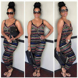 Pluse Size Fashion Women Party Evening Jumpsuit Off Shoulder Striped Print Backless Playsuit Bodycon Bodysuit Trouser 0wz11