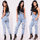 Fashion Women Ladies Ripped Denim Jeans Pockets Full Length Pinafore Overall Trousers One-Piece Rompers Jumpsuit Clothes S-3XL 0wz11