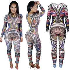 41c0c87baa37 Boho Women Ladies Summer Beach Party Clubwear Playsuit Bodycon Print One-Piece  Jumpsuit Romper Long ...