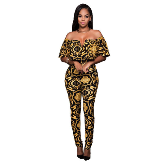 Off Shoulder V Neck Long Skinny Rompers Sexy Women Yellow Black Floral Print Ruffles Jumpsuit High Waist Summer Boho Bodysuit 0wz11