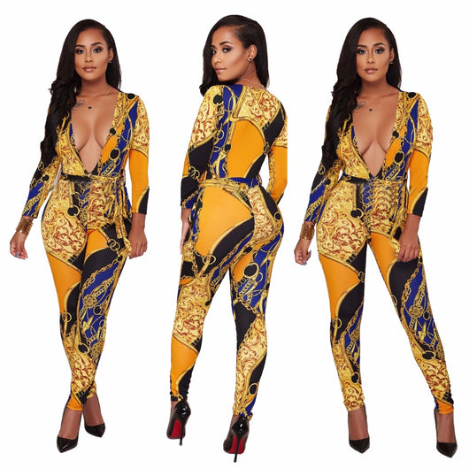 New Gold Chain Print Bodycon Jumpsuit With Belt Plus Size Women Full Sleeve V Neck One Piece Long Overalls-0wa99