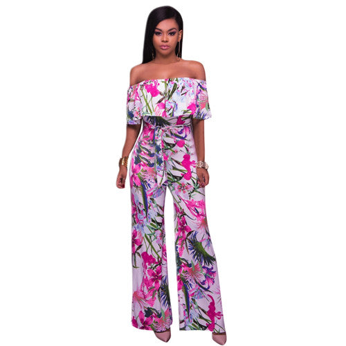 Floral Print Ruffle Off Shoulder Wide Leg Overalls Casual Women Strapless Sashes One Piece Jumpsuit Long Beach Catsuit dress-0wa99