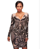 Autumn Spring Mesh Sequin Patchwork Bodycon Dress Sexy Women Long Sleeve V Neck Back Zipper Mini Club Dresses-0wa99