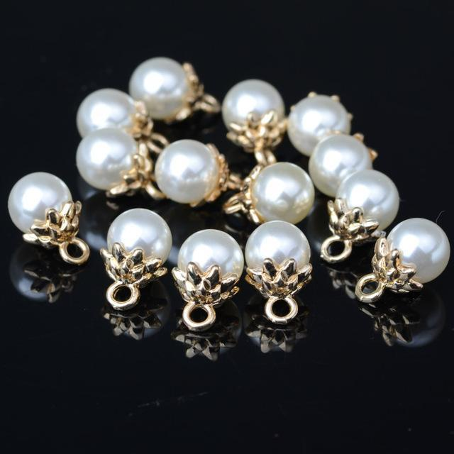 10PCS 8mm 10mm 12mm 14mm 18mm ABS Imitation Pearl bead charm for Earring Bracelet Choker Necklace headdress Jewelry Making