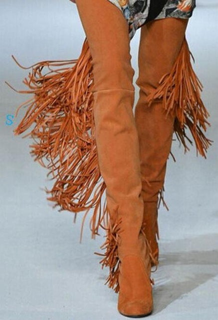 durable service good many styles Fashion Orange Suede Leather Women Over The Knee Boots Sexy Fringe Back  Ladies Chunky Heel Boots Point Toe Female Knight Boots 0w77