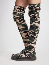 Spring Hot Stretch Knit Women Over The Knee Boots Round Toe Fashion Camouflage Ladies Flat Thigh Boots Thicken Bottom Boots 0w77