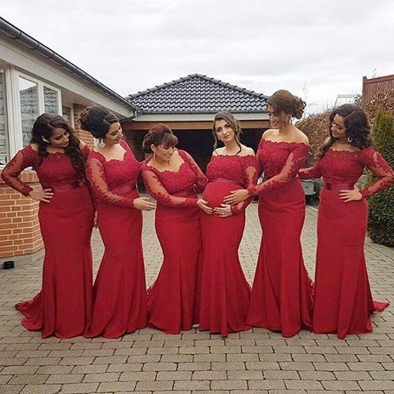 2018 New Arabic African Red Bridesmaid Gowns Plus Size Maternity Off  Shoulder Long Sleeves Lace Backless Pregnant Formal Dress
