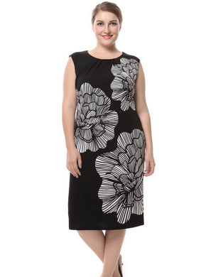 a029b7937f78 Chicwe Women's Lined Plus Size Floral Printed Dress Sleeveless ...
