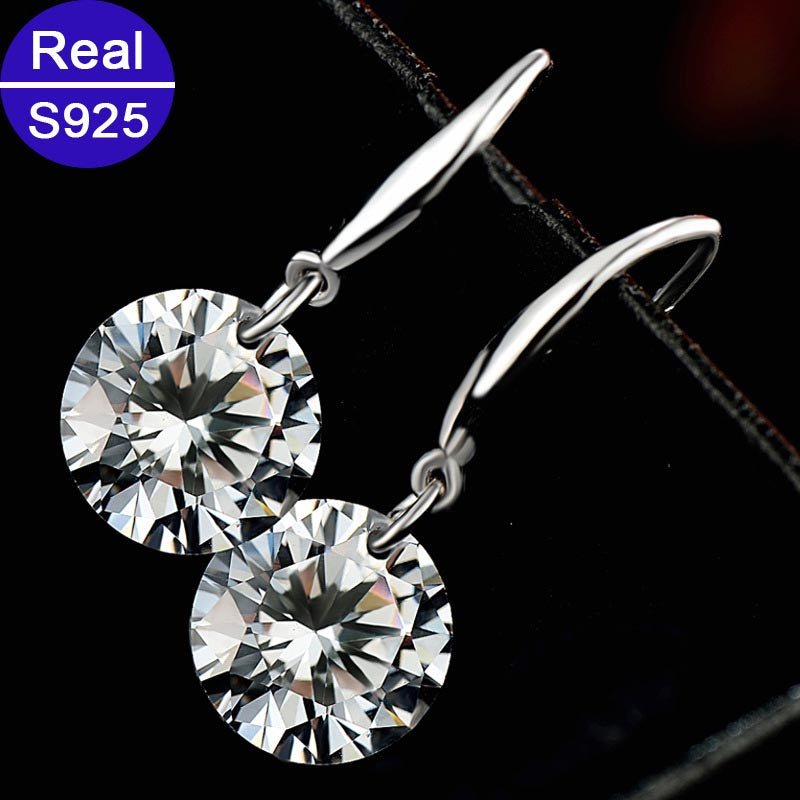 Red Trees Fine Jewelry Fashion Real 925 Sterling Silver Drop Earrings For Women Classic Hanging Earring With Stone