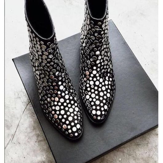 2018 New Fashion Silver Studs Cover Women Pointy Toe Ankle Boots Ladies Sexy Knight Boots Unique Heel Back Zipper Boots Size 41-0wz11