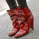 Berry Embroidered Women Spike Heels Boots Shoe Mujer Red Suede Ankle Boots Cowboy Short Boots Women High Heels Boots Shoes-0wz11