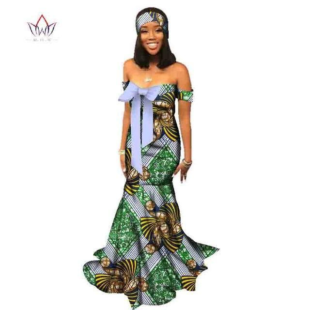 2018 african dresses for women Fashion Design print women bazin off the shoulder long cotton dress dashiki plus size 6xl WY2206