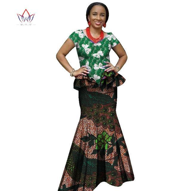 2017 Summer  skirt set african designed clothing traditional bazin print Bazin Riche plus size skirt set  evening dress  WY2683