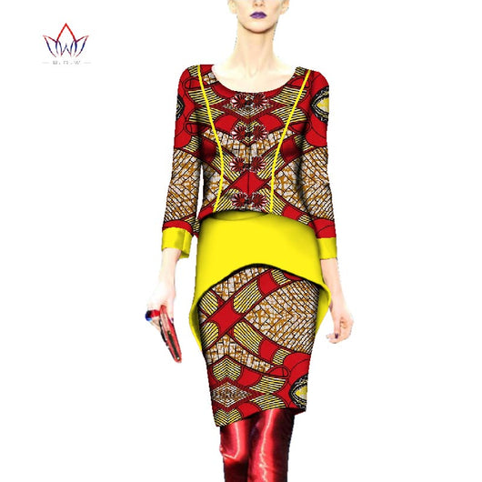vintage Women Suits o-neck Fashion African Printed Wax 2 Piece Set Women Top And Skirt Set dashiki plus size sets none WY2683