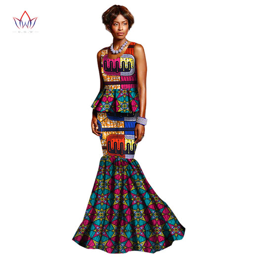 Women skirt set o-neck women 2 piece set top and skirt sleeveless women clothing set womens african plus size WY2683