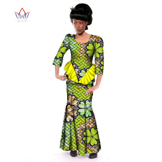 African Women Skirt Set for Women Brand Clothing Custom African Dashiki Skirt Blouse Cotton Clothing WY2683