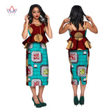 women traditional african clothing women sex cotton sets print 2 piece bazin sleeveless big size work suit 6xl WY2683