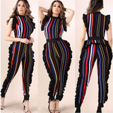 Sexy bodysuit slim tracksuit rompers womens jumpsuit skinny striped print ruffles sleeveless femme overalls-0W055
