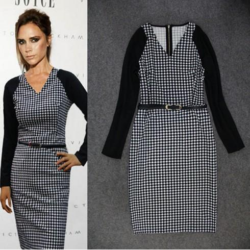 2017 Rushed Limited Natural Batik Women Dress Victoria Beckham Grid Houndstooth Pencil Dress V-neck Long Sleeve with Belt
