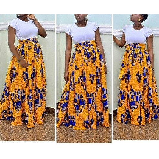 2017 New African Women Skirt Pastoral style digital printing High Waist Vintage Skirts Casual Ladies BS018