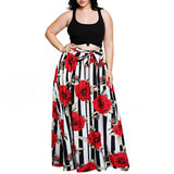 Women Skirt Summer A-Line Skirts Flower High Waist Vintage Skirts-0wm12